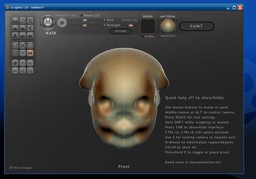 Sculptris - website screen short