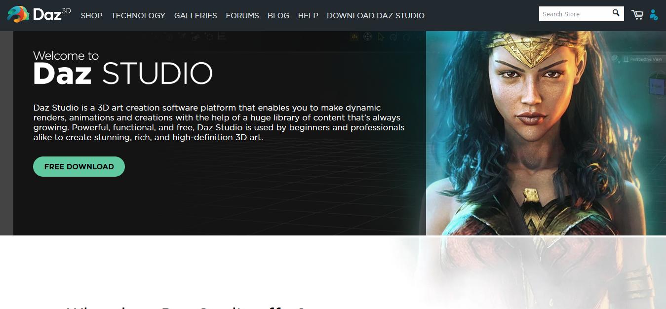 Daz Studio - website screen short