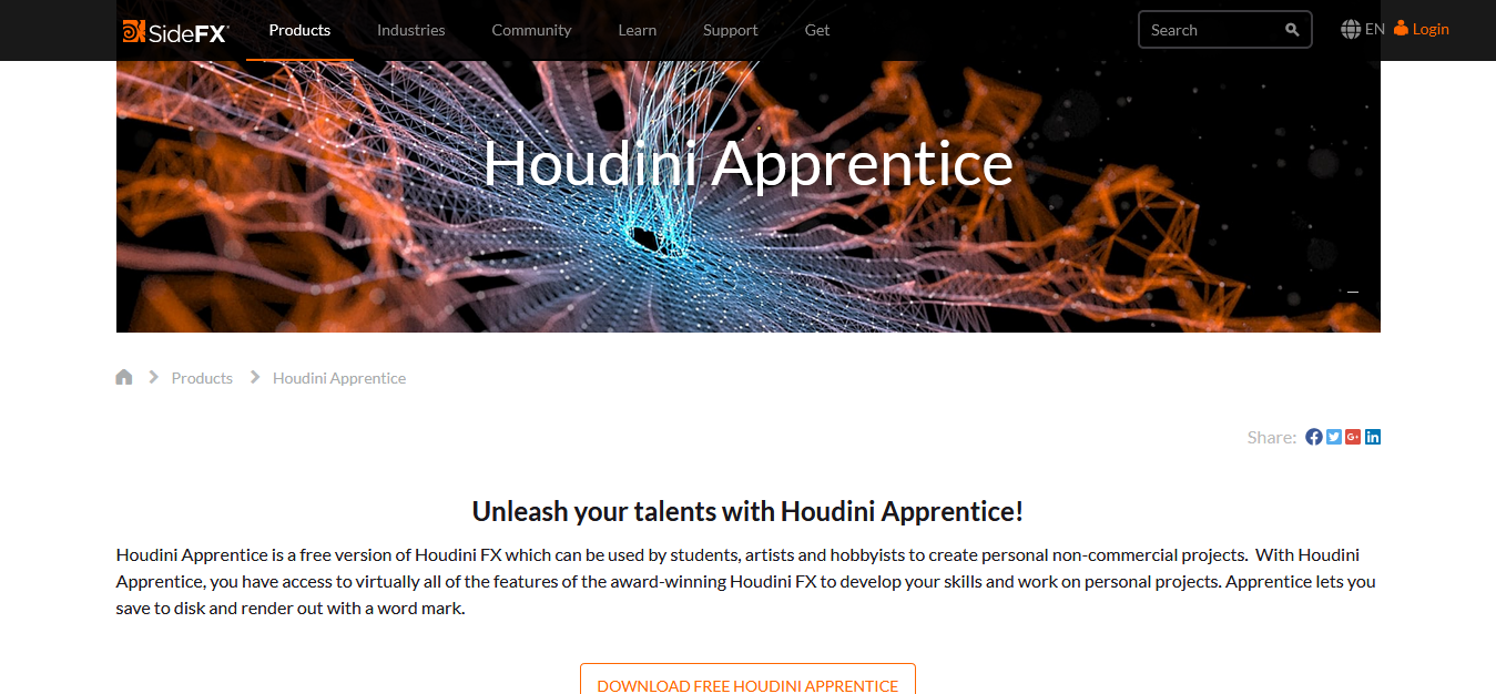 Houdini Apprentice website