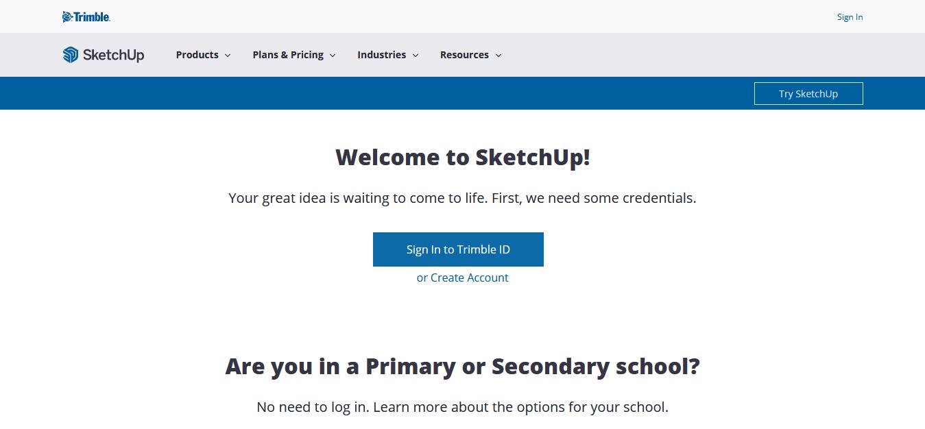 SketchUp - website screen short