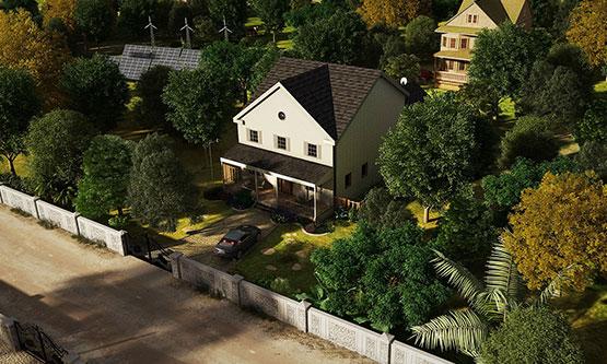 3D-Aerial-View-Rendering-Lake-City